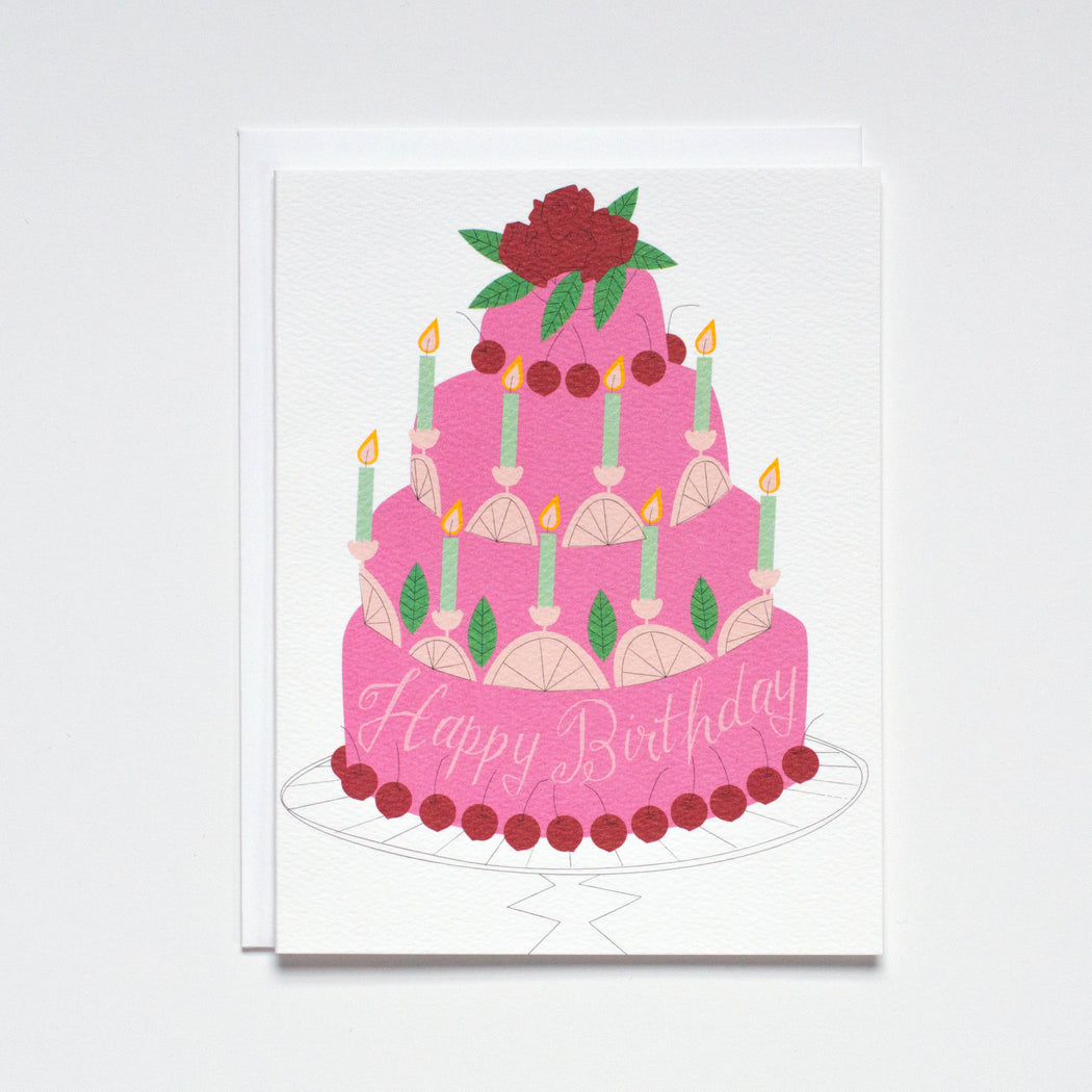 Happy Birthday with Cake Note Card