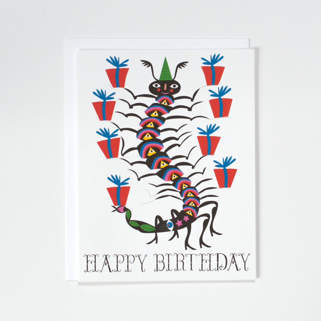 Notecard with a centipede carrying stacks of birthday gifts.