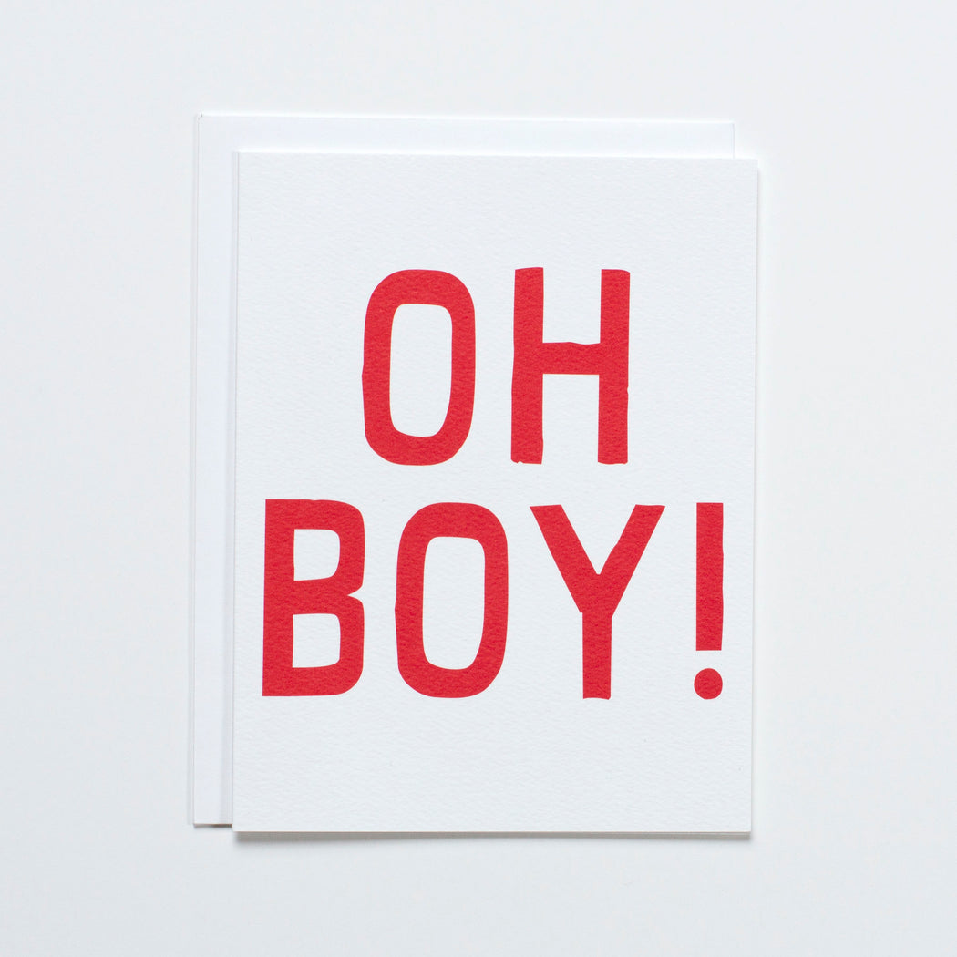 "graphic greeting of ""Oh Boy!"" in red on this Banquet Workshop note card"