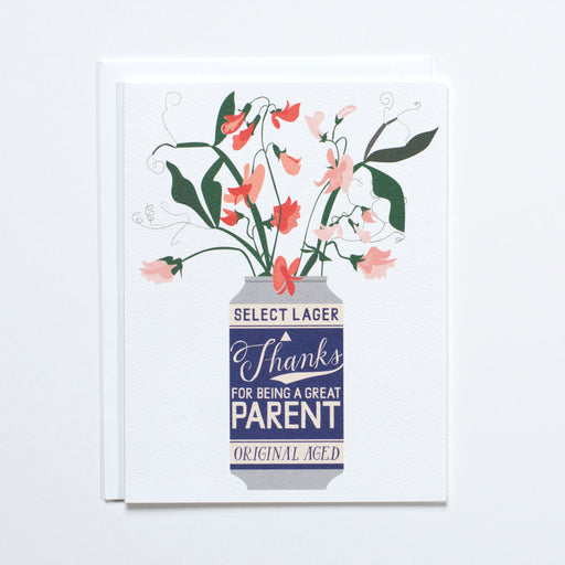 Thanks for being a great parent on a hand lettered beer stuffed with sweet peas on a note card.
