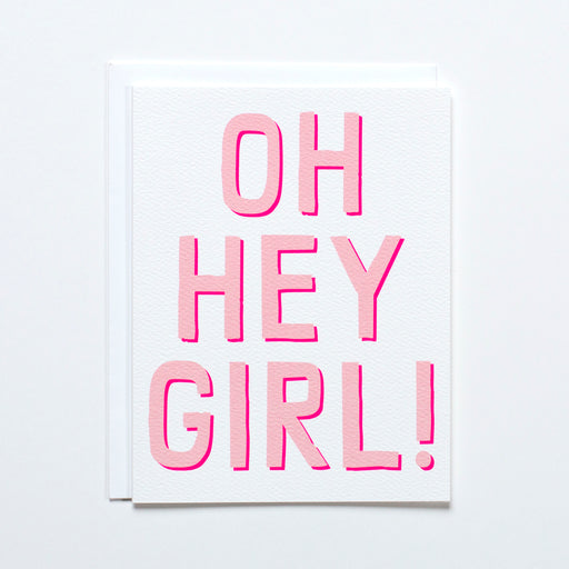 "Double pink lettering reads ""Oh Hey Girl!"" on the banquet Workshop note card"