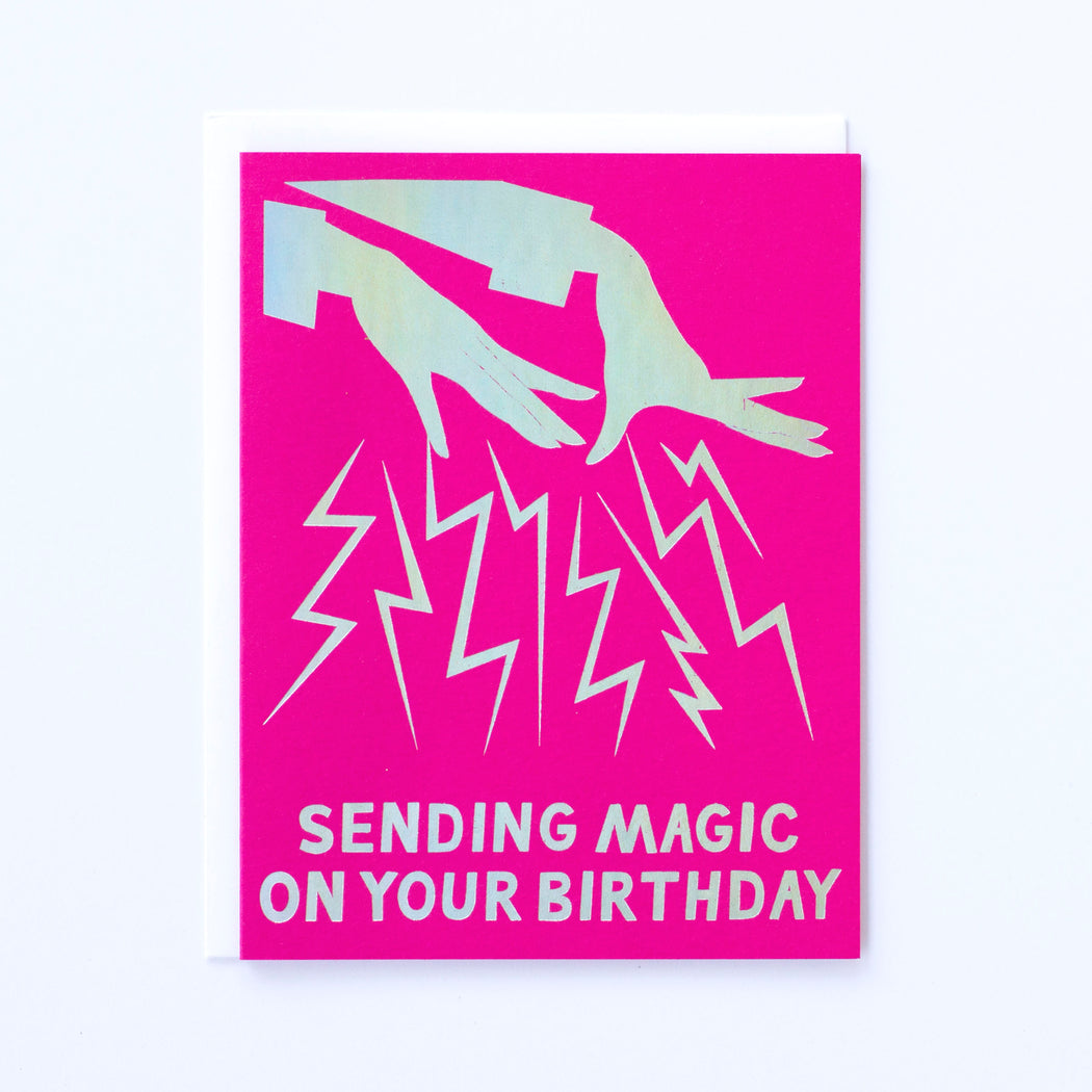 hologram foil birthday magic hands on fuchsia pink paper stock