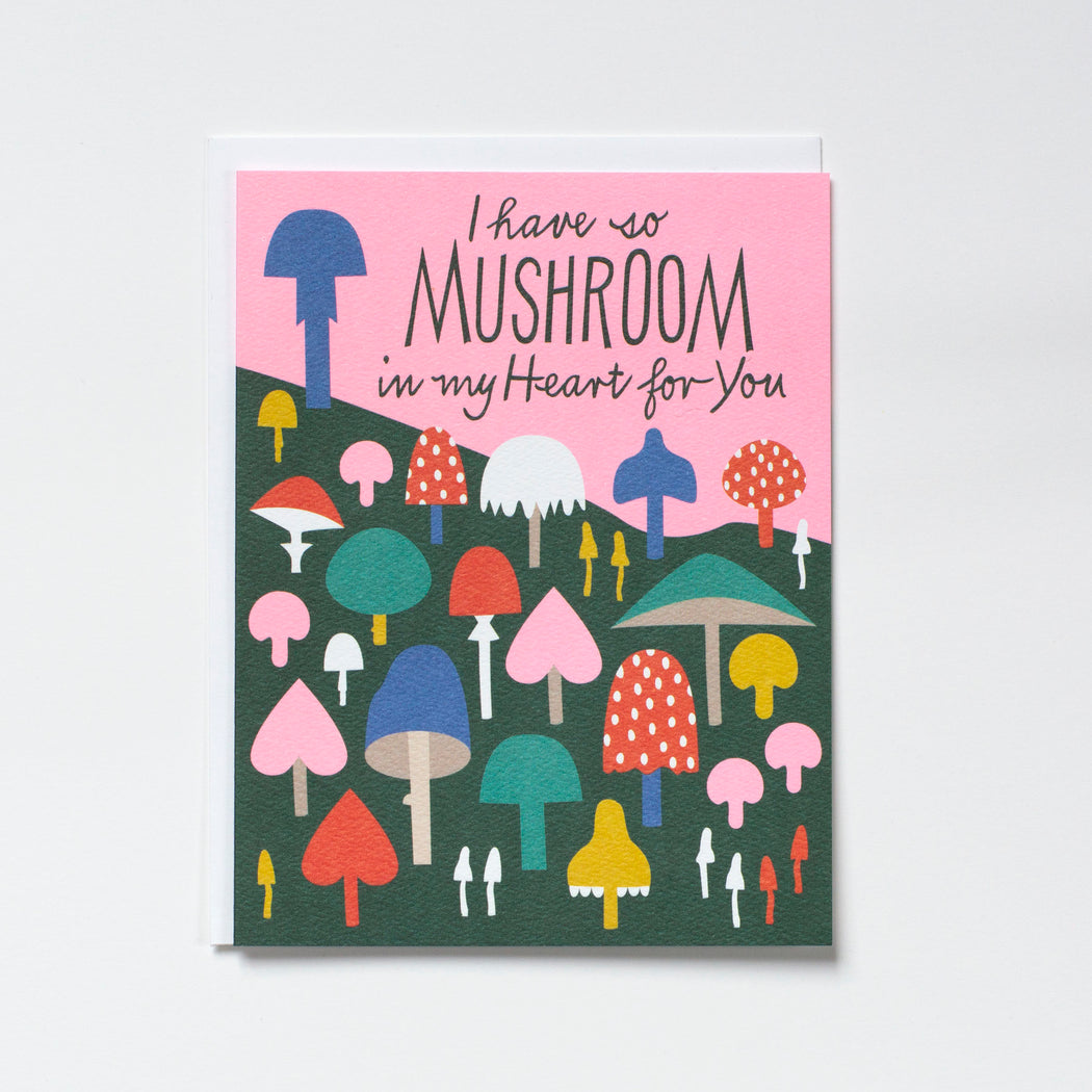 mushroom pun note card with pastel neon pink sky