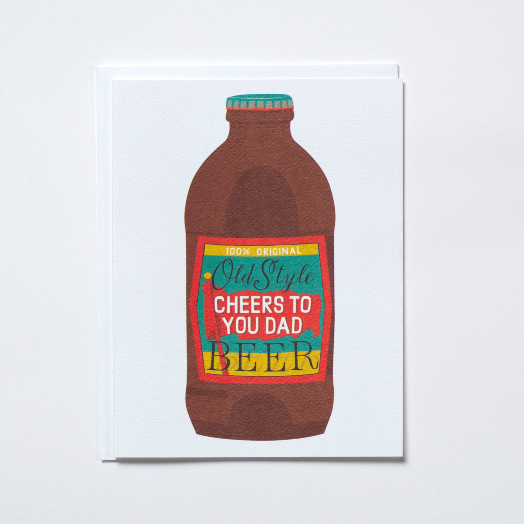 dad, father's day card with stubby beer bottle illustration