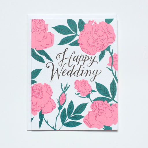 pastel neon, pink roses, wedding card