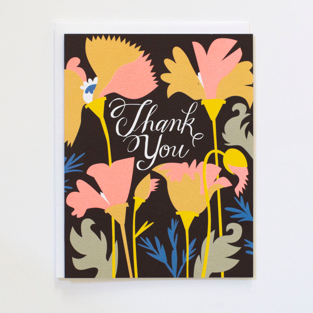 70s palette, dramatic, thank you card, california poppies, poppy thank you card