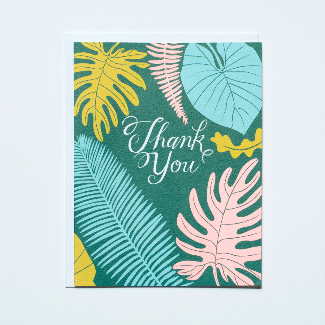bold jungle leaves thank you card, houseplants, jungle foliage