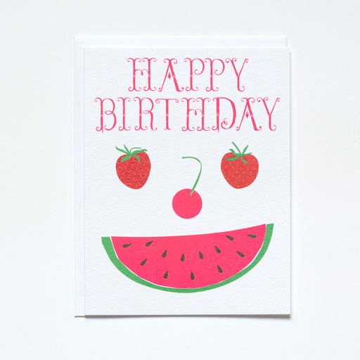 smiling watermelon fruit face birthday card strawberries cherries