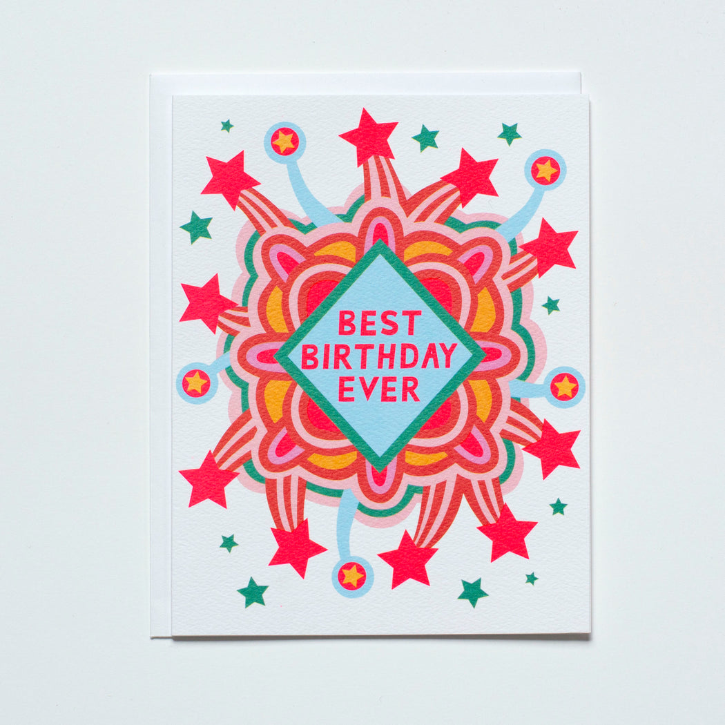 best birthday ever, birthday card, neon explosion