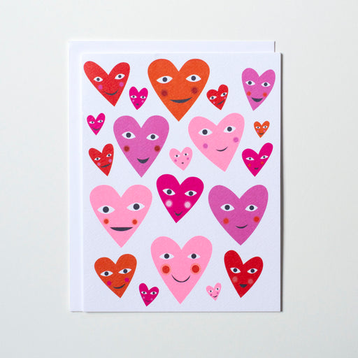 multi coloured hearts with fun faces