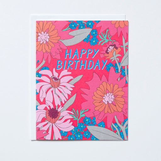 1960's inspired floral pattern with blue Happy Birthday text