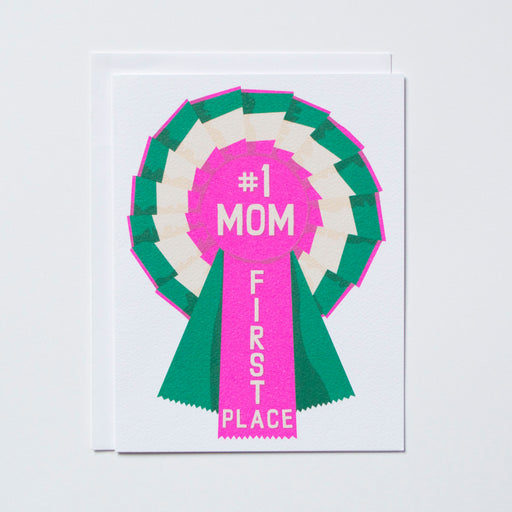 #1 Mom first place written on a prize ribbon