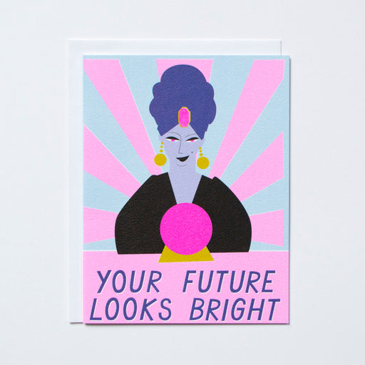 Your Future Looks Great text with drawing of a fortune teller looking into a crystal ball