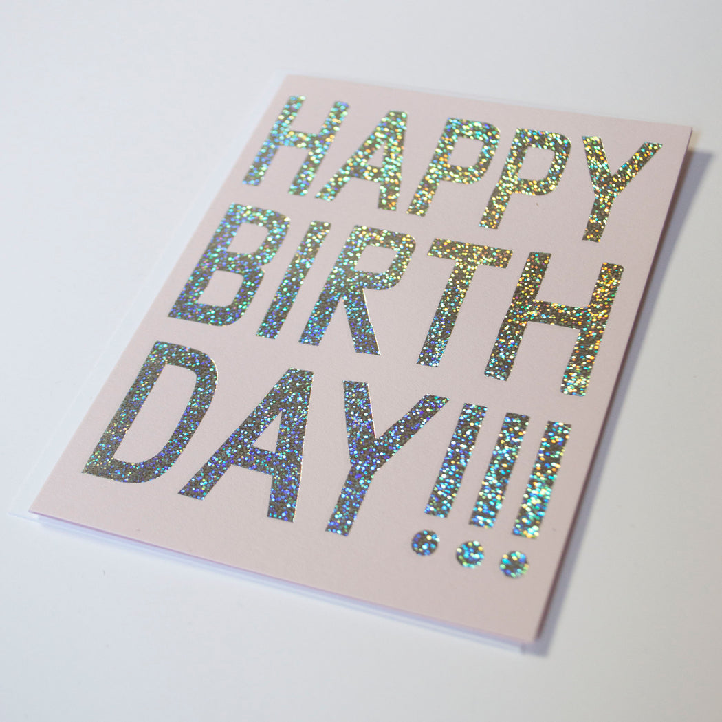 Glitter Hologram Foil Birthday Card
