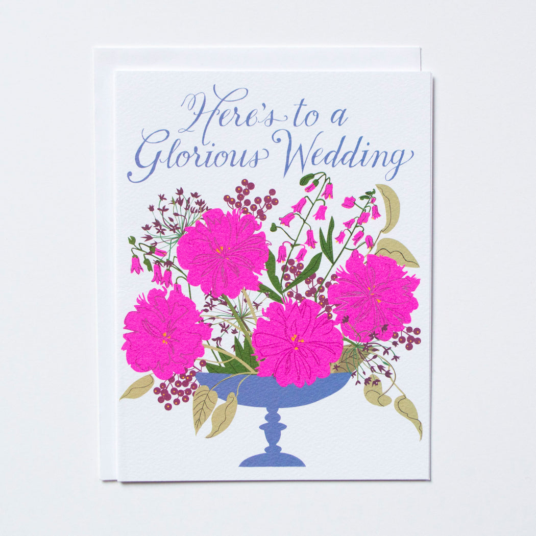 Here's to a Glorious Wedding script text with a vase of flowers