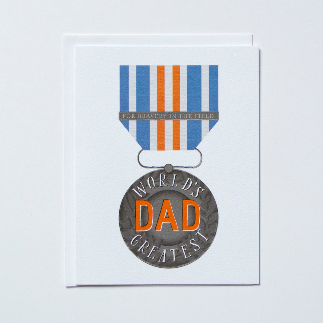 World's Greatest Dad note card with a medal