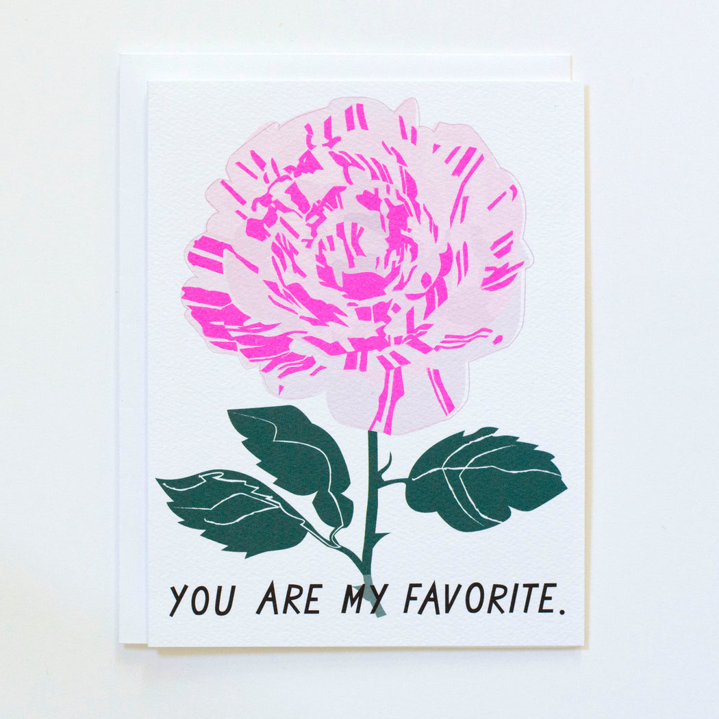Variegata di Bologna Striped Rose with You Are my Favourite text in black