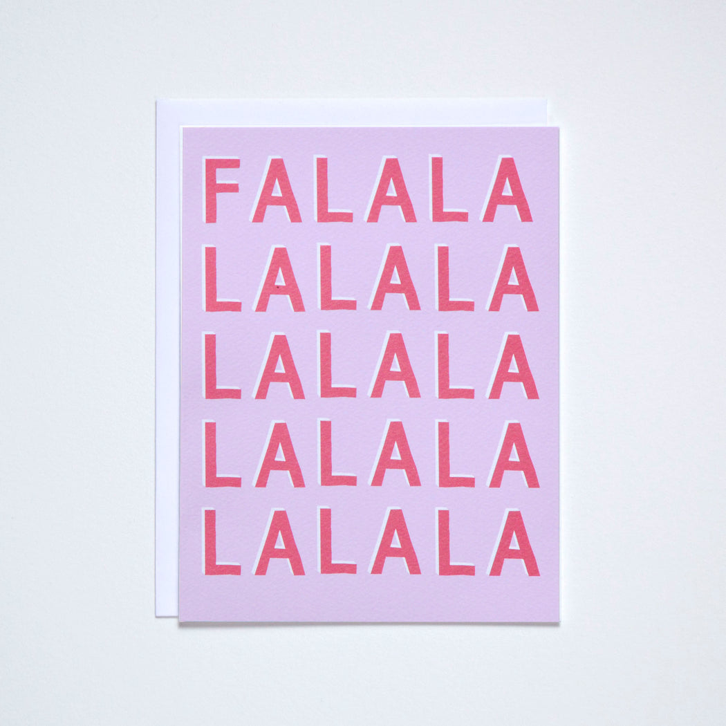 Holiday card reads Falalalalala in graphic hand-lettered type inspired by vintage sports jerseys.