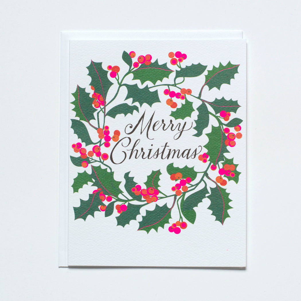 holly wreath christmas card Merry Christmas
