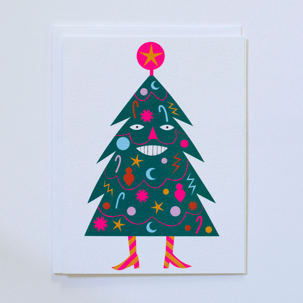 decorated tree, smiling, neon pink, striped boots, christmas, holiday