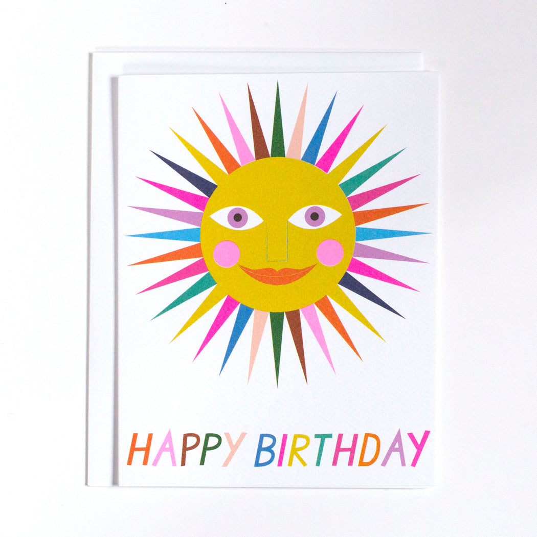 rain bow sunshine, happy birthday, birthday card