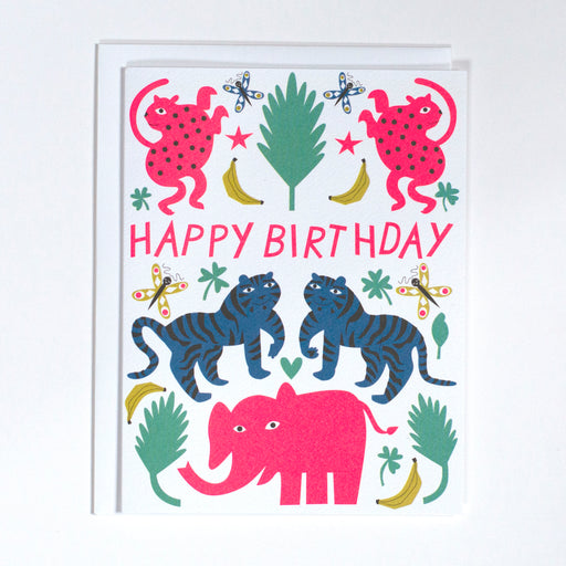 pink elephant, birthday card, blue tigers, dancing cheetahs
