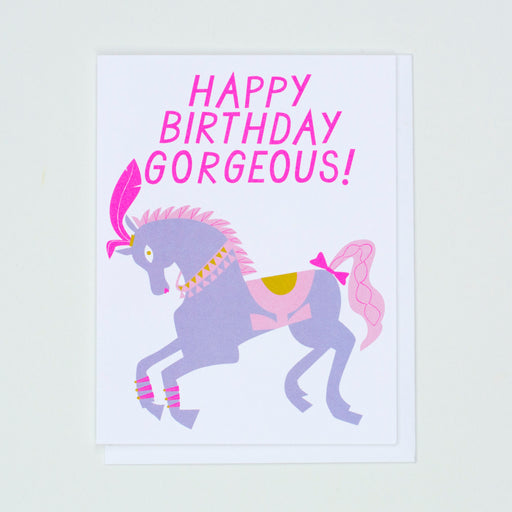 Happy Birthday Gorgeous Pretty Pony Card, show pony