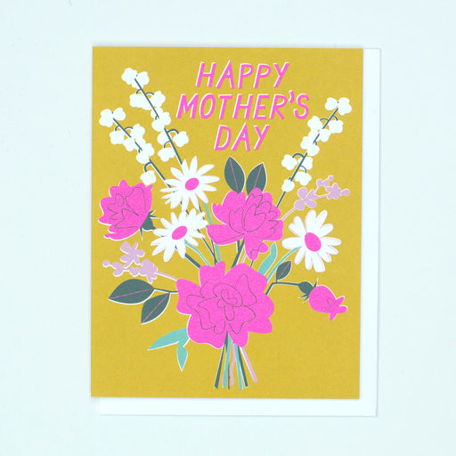 Beautiful colours, mustard and lavender, neon purple, mother's day card, mom