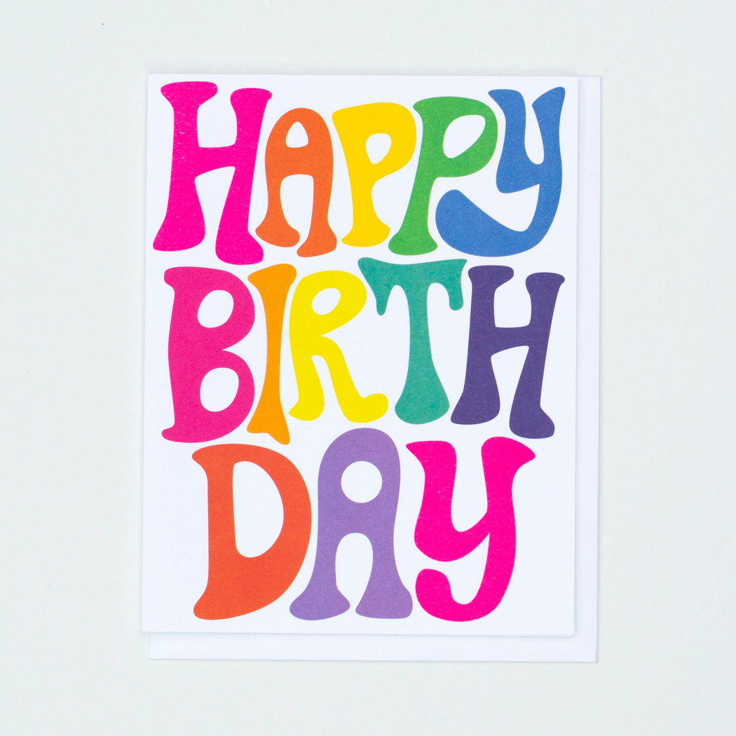 happy birthday, rainbow letters, bubble letters