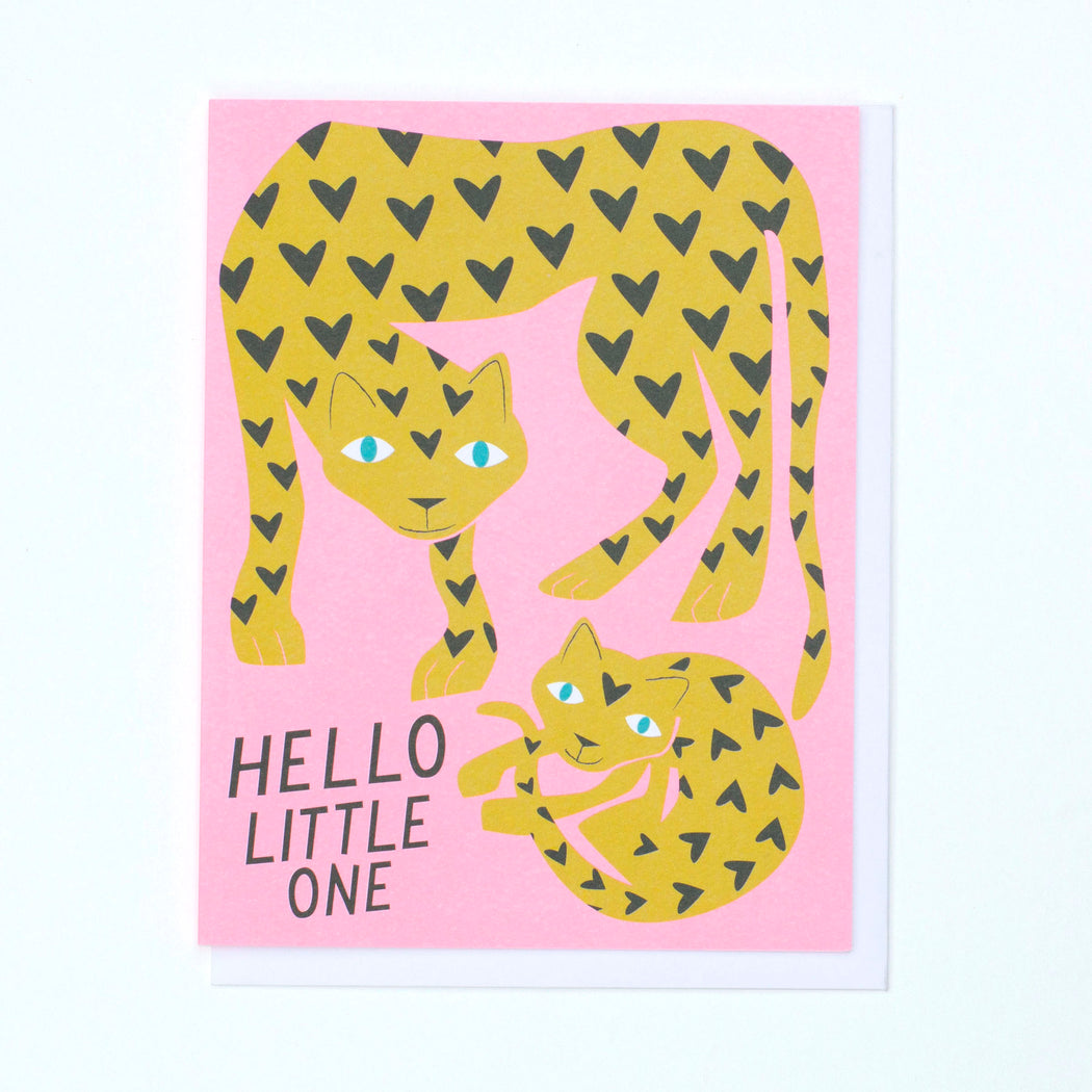 baby cards, leopard, spotted cat, mom and baby
