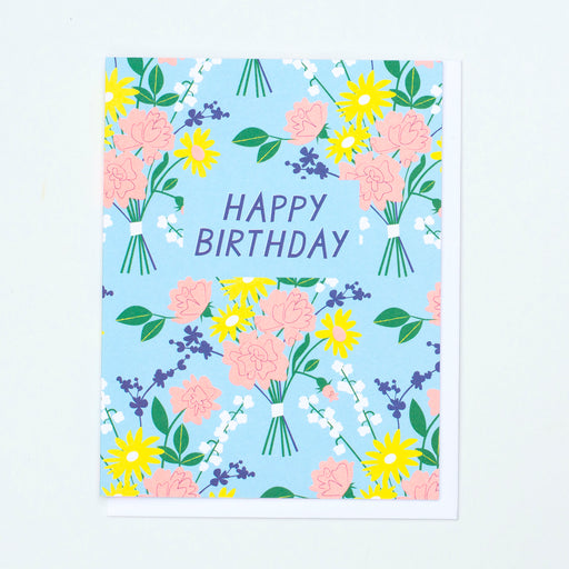 60s floral, birthday card, happy birthday, neon peach
