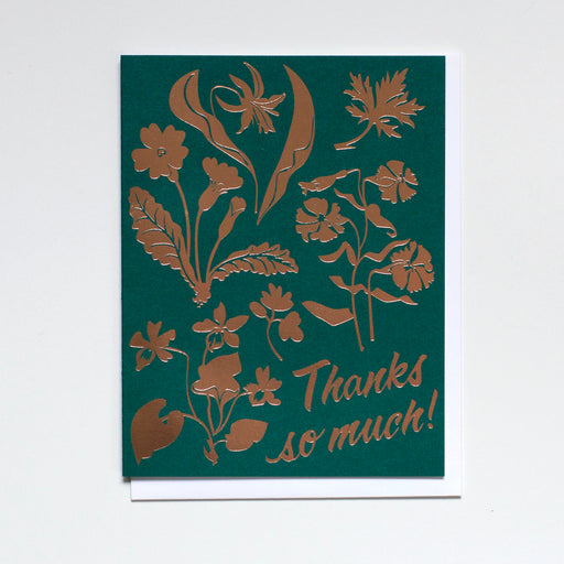 Thanks Wildflowers Rose Gold Foil Card