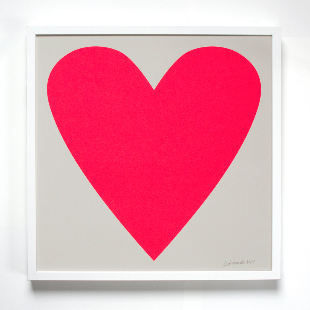 Banquet Workshop's iconic neon heart screen print.
