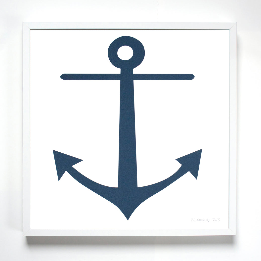 A framed screen print of Banquet Workshop's classic navy blue anchor perfect art for a cabin, living room or boys room or any sailor.