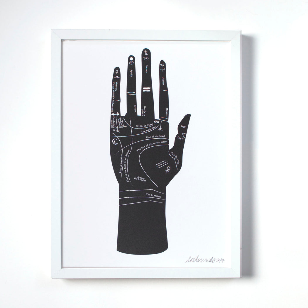 Palmistry Hand key and guide screen print from Banquet Workshop