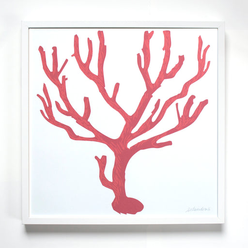 Banquet's 2-color screen print of a neo-classical branching Italian red coral