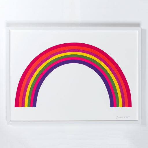 Photograph of an overprinted neon rainbow art print in a white frame in the style of pop art with neon colour.