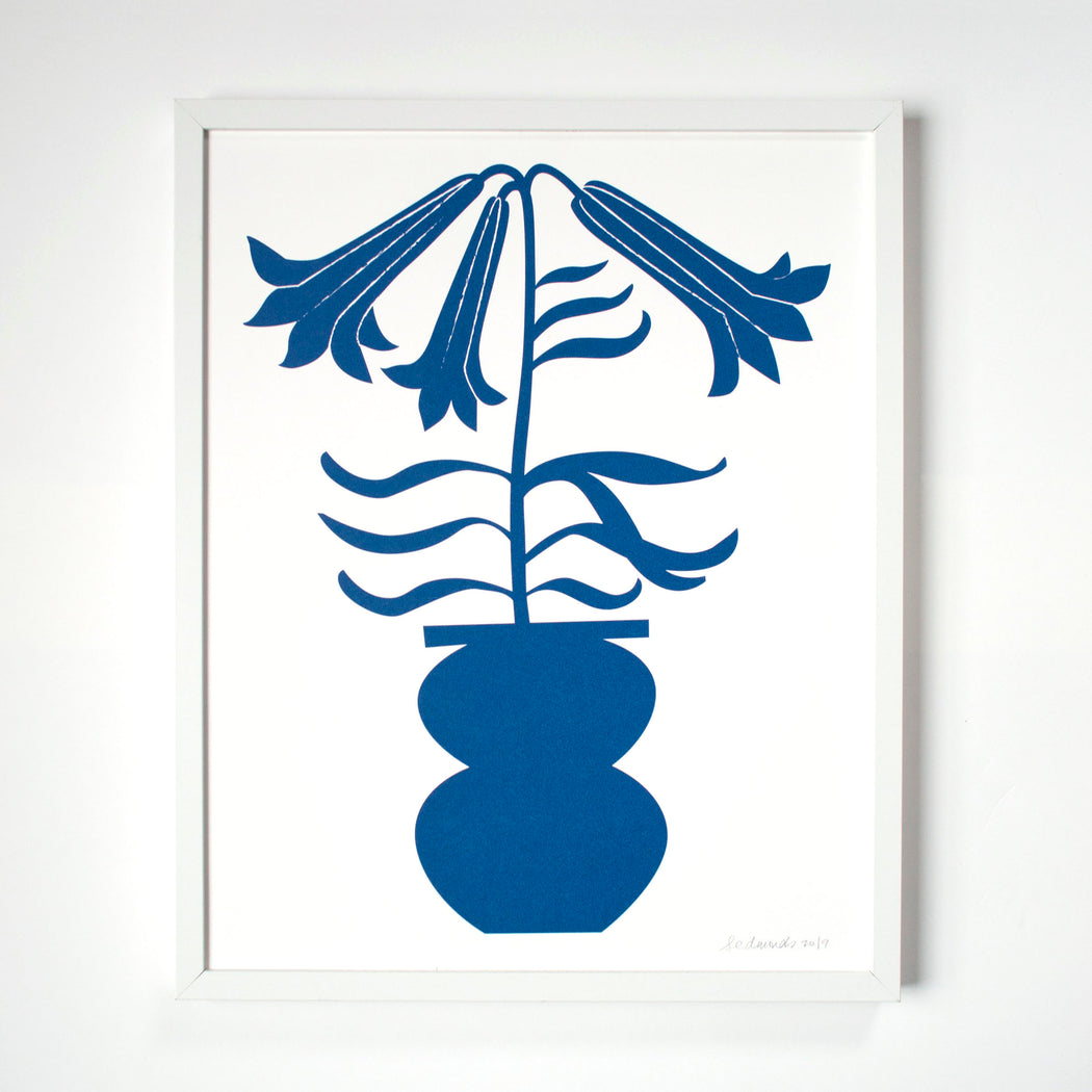 screen print of a deep blue lily stem in a vase