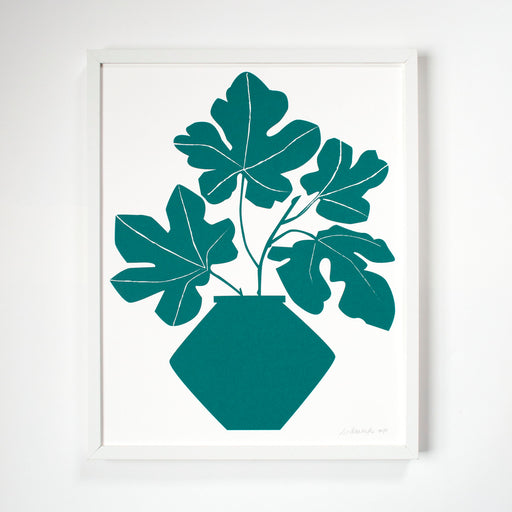 Screen print of Leafy Fig Stems in a Vase