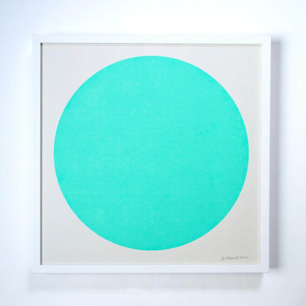 aqua green circle on archival paper