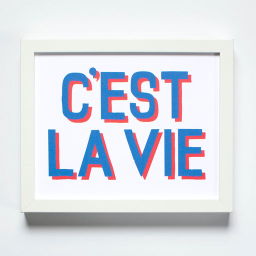 C'est la Vie print in red and blue vintage sports jersey inspired type from Banquet Workshop