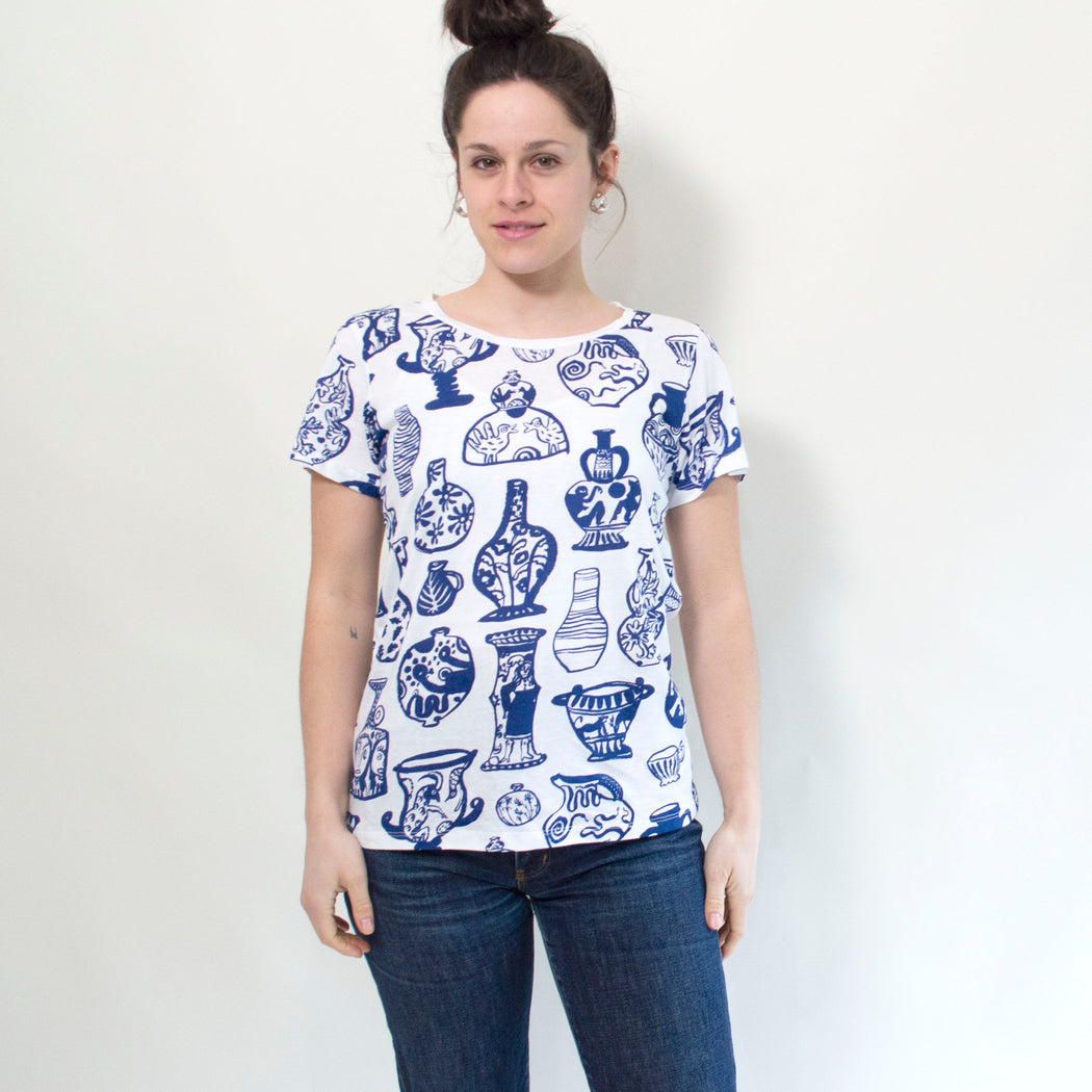 "Maggie Boyd x Banquet Workshop ""Vessels"" T-shirt in Navy on White"