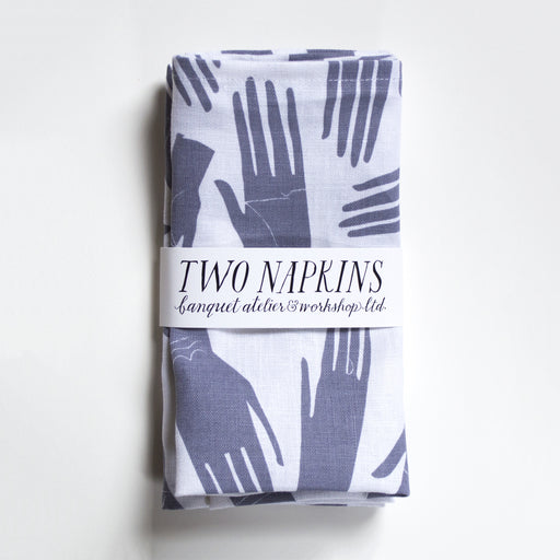 Two Linen Napkins - screen printed grey palmistry hands