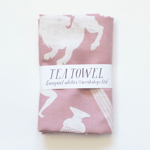 Linen Tea Towel - screen printed ancients - White on pale pastel pink