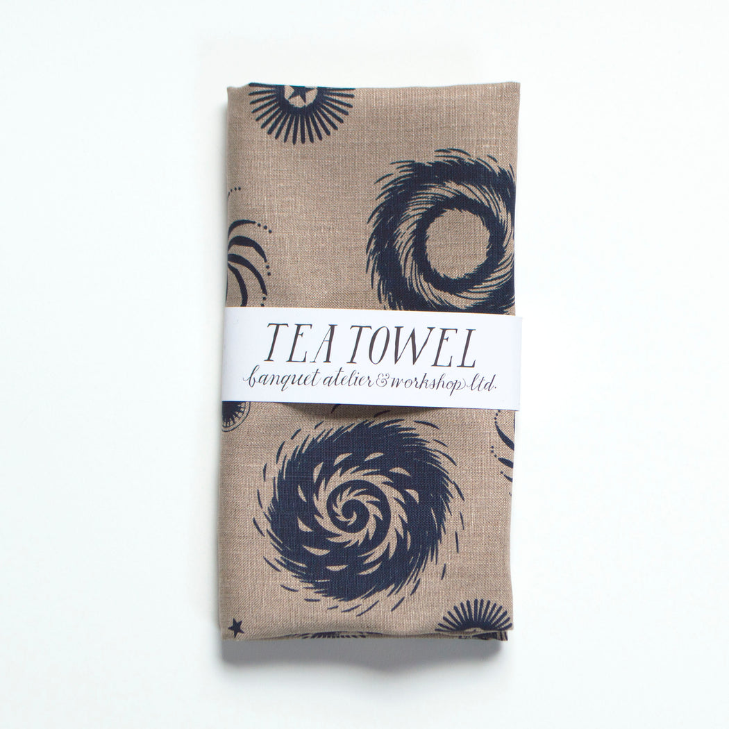 Navy on Natural Fireworks printed tea towel