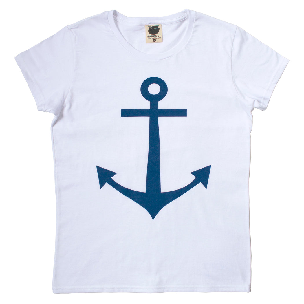 Classic navy blue anchor screen printed on to a white women's t-shirt