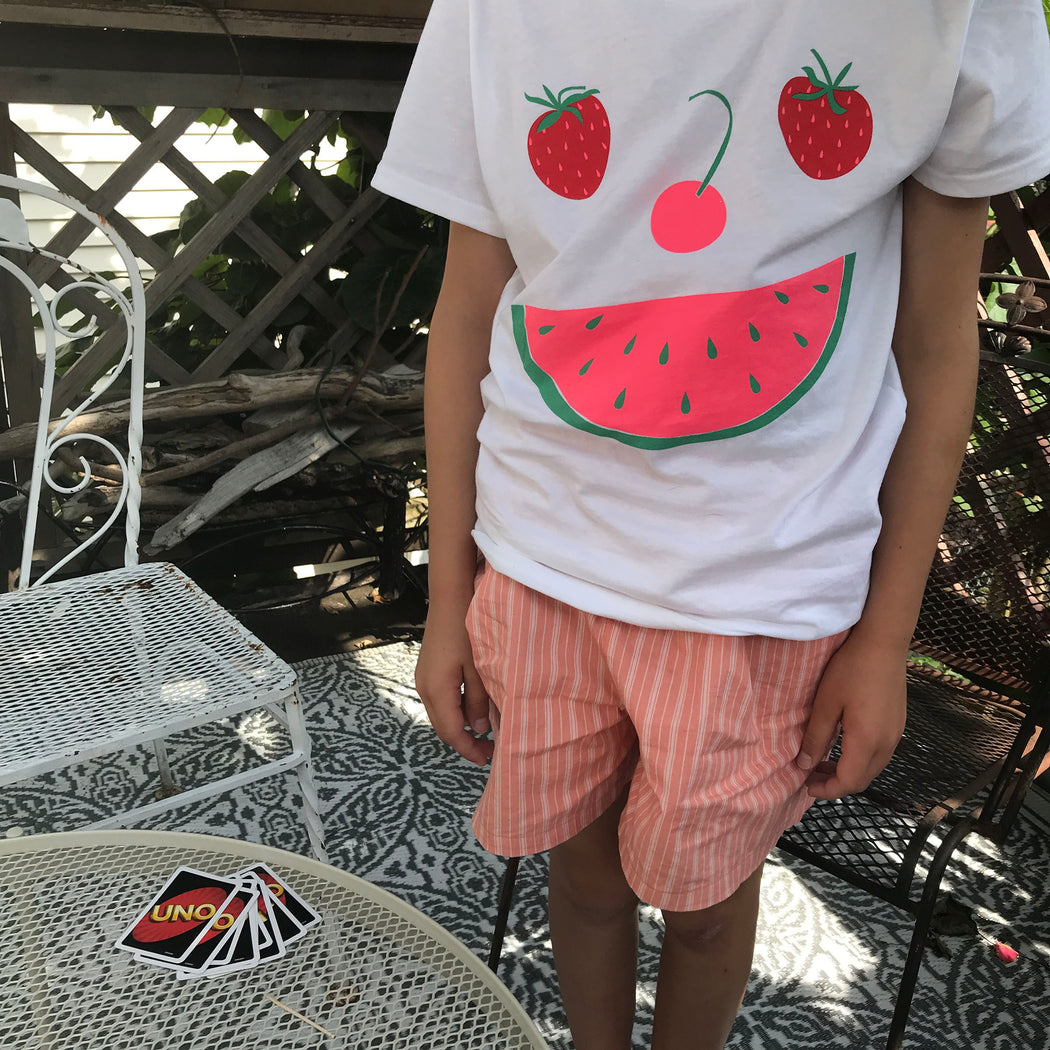 fruit face t-shirt, watermelon slice, smile