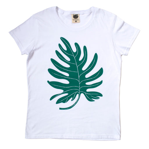 Green Philodendron Leaf on a white women's t-shirt