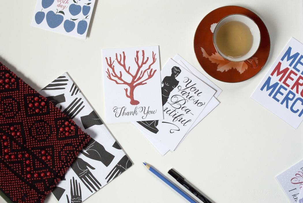 Mixed Banquet Workshop Cards including coral, venus de milo, and palmistry hands