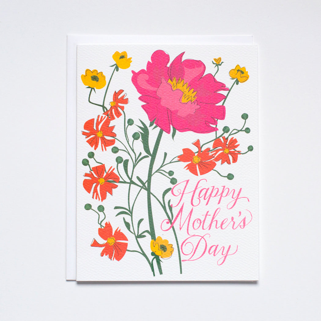 Vibrant Floral illustration/happy card for mom/happy mother's day card